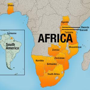 rwanda south africa map